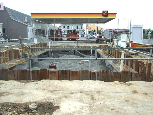 Underground fuel pipes at Z service station
